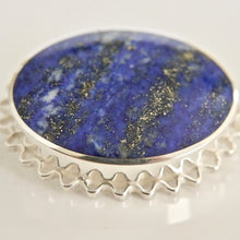 Load image into Gallery viewer, Lapis Lazuli Silver Brooch