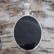 Load image into Gallery viewer, Whitby Jet Pendant with Blue John