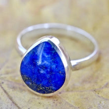 Load image into Gallery viewer, Lapis Lazuli Silver Ring Peardrop design