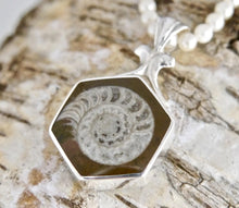 Load image into Gallery viewer, Jet & Ammonite Double-Sided Pendant