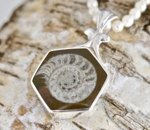 Jet & Ammonite Double-Sided Pendant