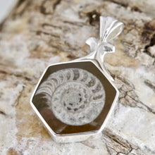 Load image into Gallery viewer, Hexagon Ammonite Pendant with Jet on the reverse