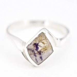 Blue John Diamond Shape Silver Ring R111BJ