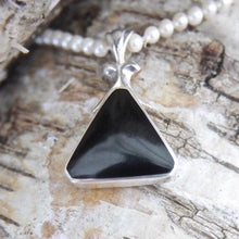 Load image into Gallery viewer, Whitby Jet Pendant with Blue John on the reverse. Triangle Design.