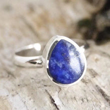 Load image into Gallery viewer, Lapis Lazuli Silver Ring Teardrop Design
