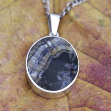 Load image into Gallery viewer, Blue John oval pendant with jet on the reverse