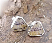 Load image into Gallery viewer, Blue John Triangle Stud Earrings