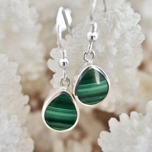 Malachite Drop Earrings Peardrop Design