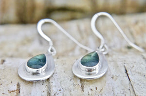 Labradorite & Silver Drop Earrings