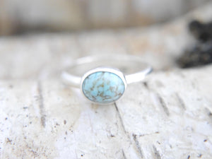 Turquoise Silver Ring Oval Design