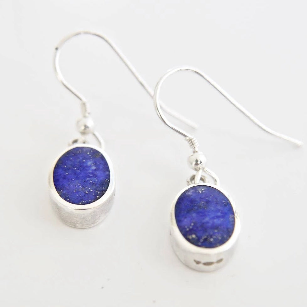 Lapis Lazuli Oval Drop Earrings