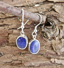 Load image into Gallery viewer, Lapis Lazuli Drop Earrings Oval Design