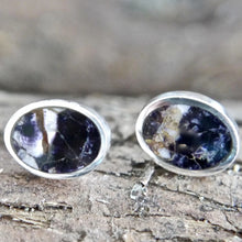 Load image into Gallery viewer, Oval Blue John Stud Earrings