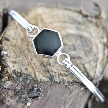 Load image into Gallery viewer, Whitby Jet Silver Bangle Hexagon Design