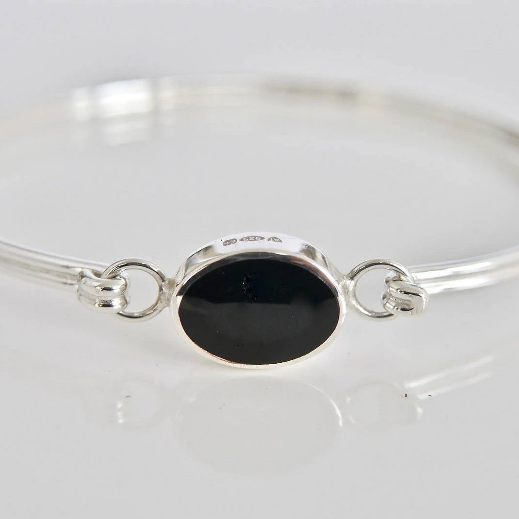Whitby Jet Bangle Oval Design