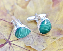 Load image into Gallery viewer, Malachite Cufflinks Peardrop Design