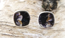 Load image into Gallery viewer, Blue John Silver Stud Earrings
