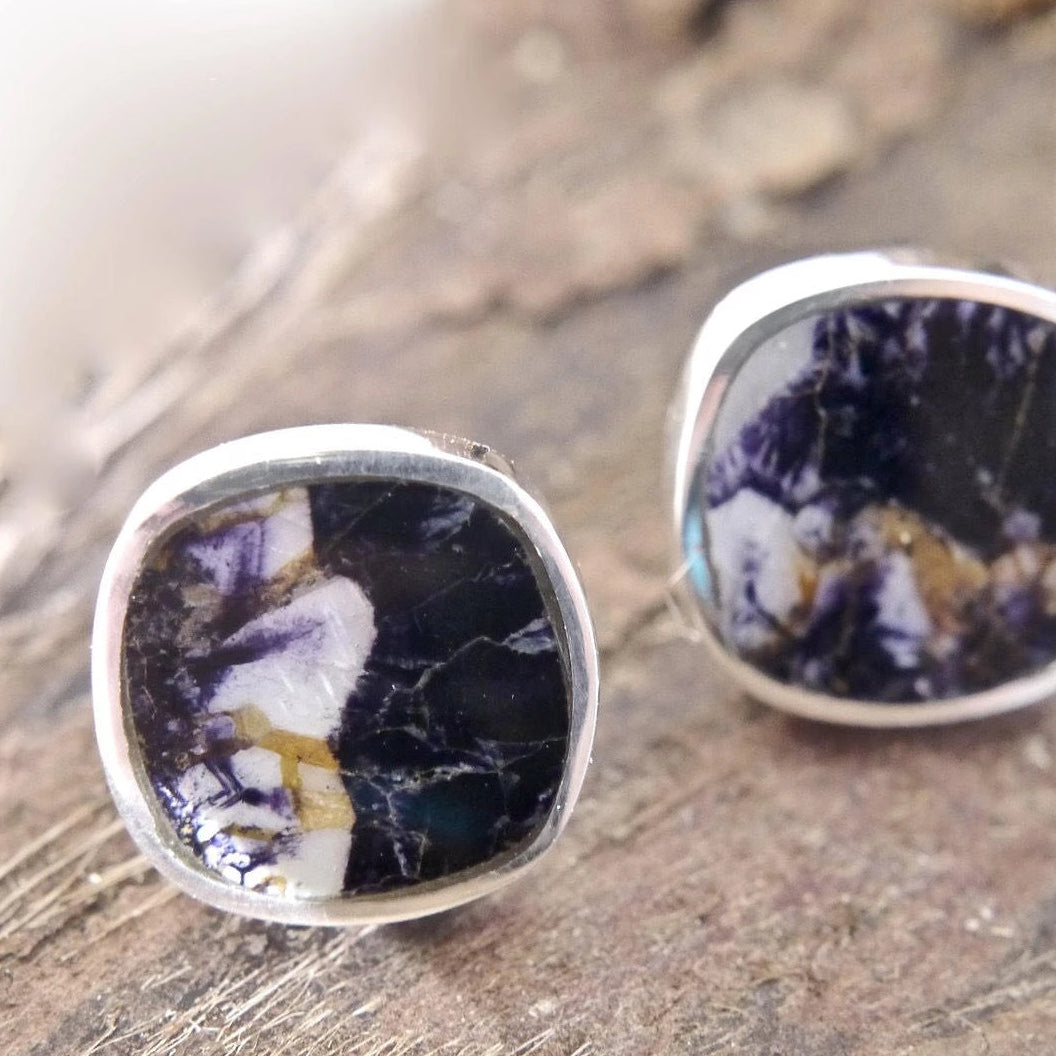 Blue John Stud Earrings in Sterling Silver