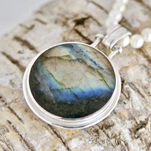 Load image into Gallery viewer, Labradorite Pendant with Fluorite on the reverse side.