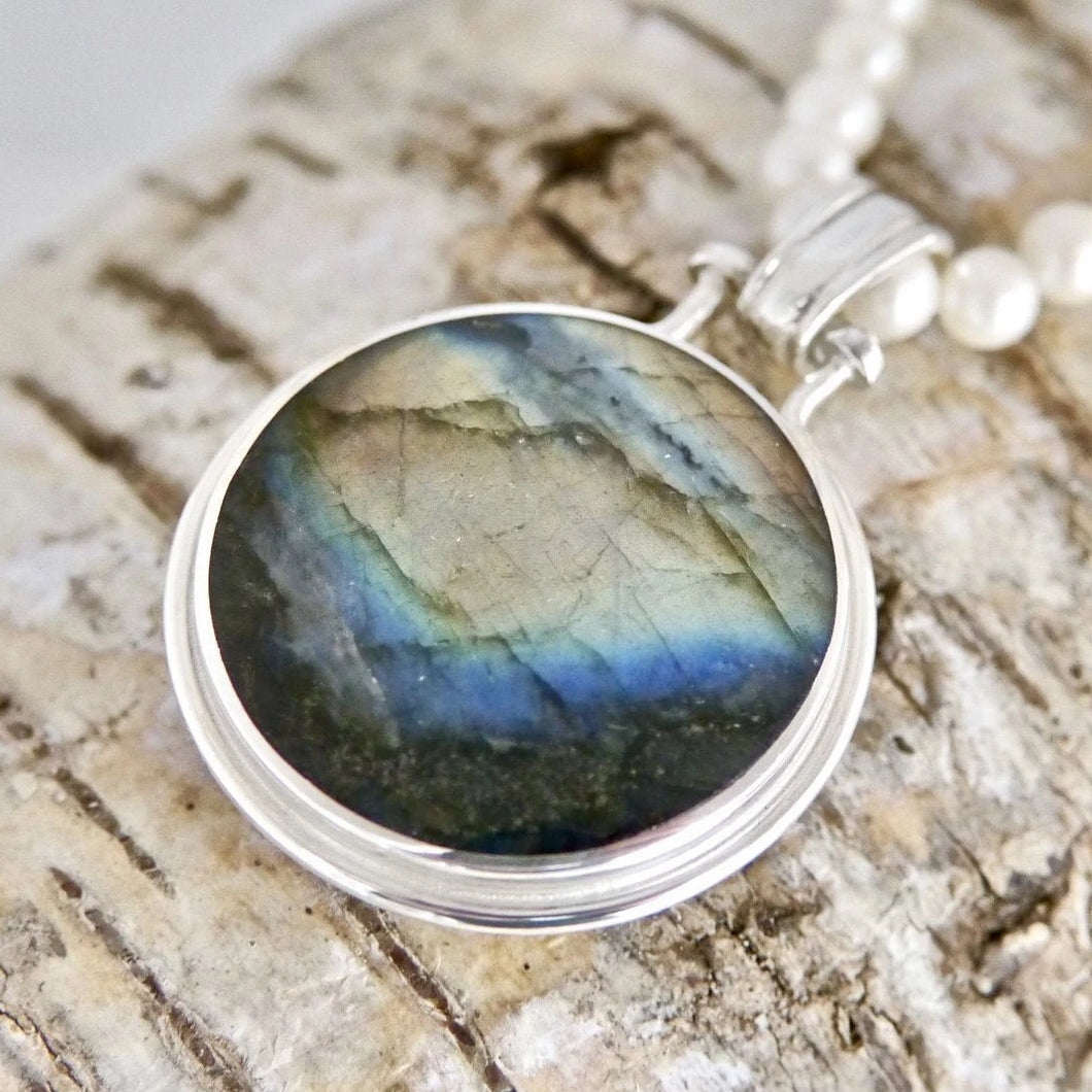 Labradorite Pendant with Fluorite on the reverse side.