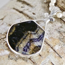 Load image into Gallery viewer, Blue John Pendant with Whitby Jet on the reverse side.