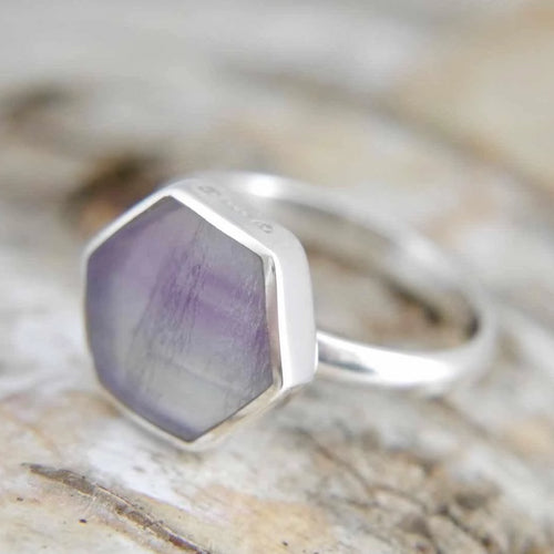 Rainbow Fluorite Silver Ring Hexagon Design