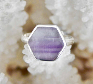 Rainbow Fluorite Ring Hexagon Design