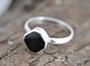 Whitby Jet Silver Ring Diamond Design
