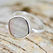 Load image into Gallery viewer, Rainbow Fluorite Silver Ring Square Design