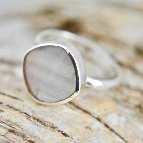 Rainbow Fluorite Silver Ring Square Design