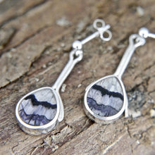 Load image into Gallery viewer, Blue John Pear Drop Stem Earrings