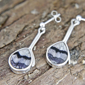 Blue John Pear Drop Stem Earrings