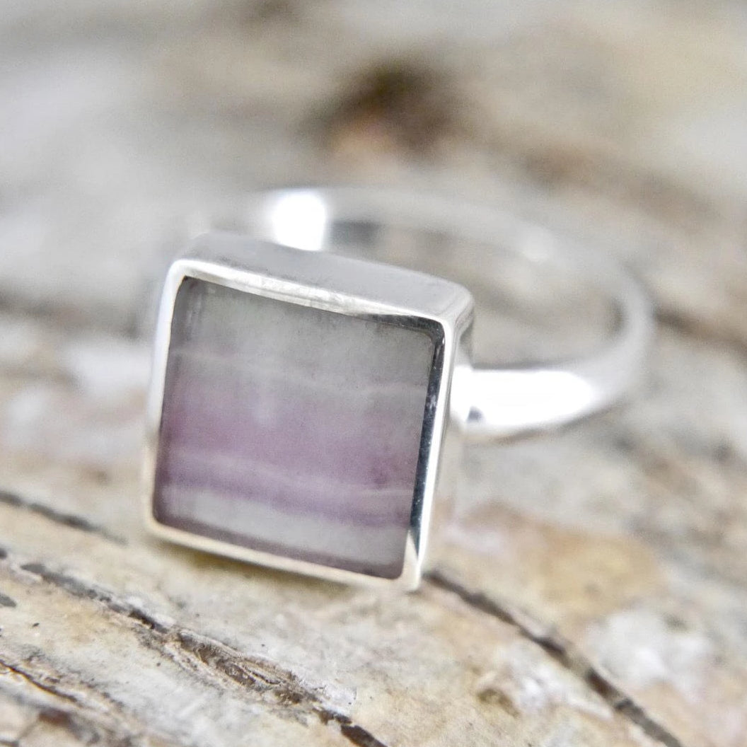 Rainbow Fluorite Silver Ring 10mm Square