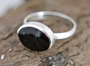 Whitby Jet Silver Ring Oval Design