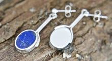 Load image into Gallery viewer, Lapis Lazuli Silver Stem Drop Earrings