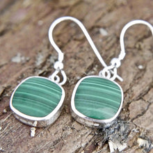 Load image into Gallery viewer, Malachite Drop Earrings Square