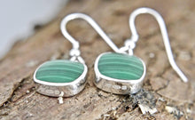 Load image into Gallery viewer, Malachite Silver Drop Earrings