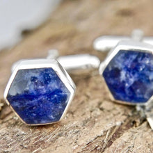 Load image into Gallery viewer, Hexagon shop Sodalite Silver Cufflinks
