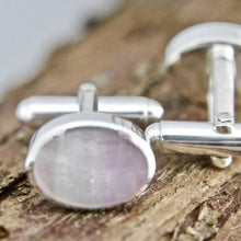 Load image into Gallery viewer, Rainbow Fluorite Cufflinks Oval Design