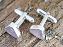 Load image into Gallery viewer, Rainbow Fluorite Cufflinks Triangle Design