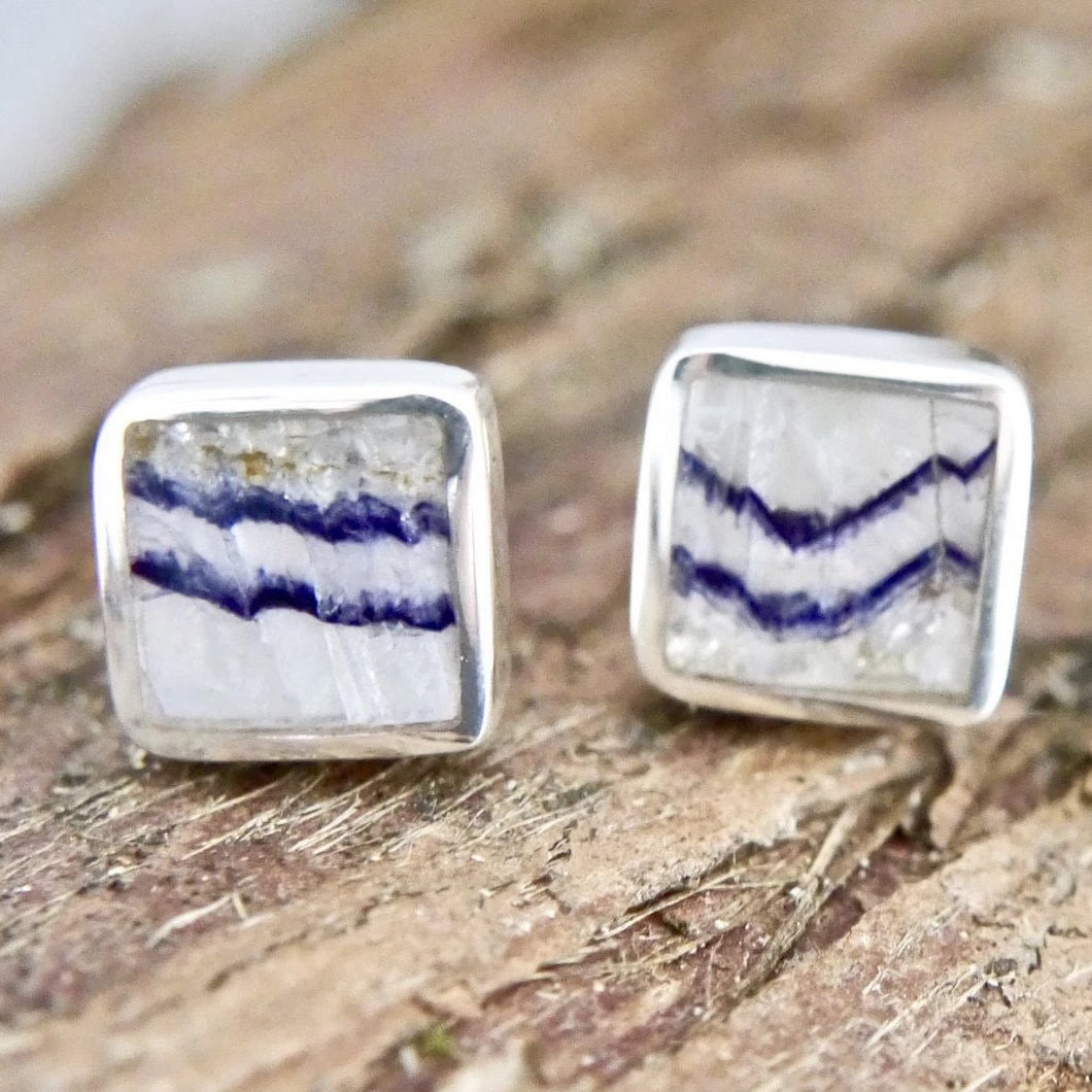 Blue John Silver Stud Earrings Square
