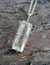 Load image into Gallery viewer, Rutilated Quartz Pendant 9ct Gold with Chain