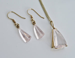 Rose Quartz 9ct Gold Pendant and Chain