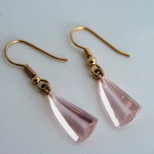 Pink Rose Quartz 9ct Gold Earrings