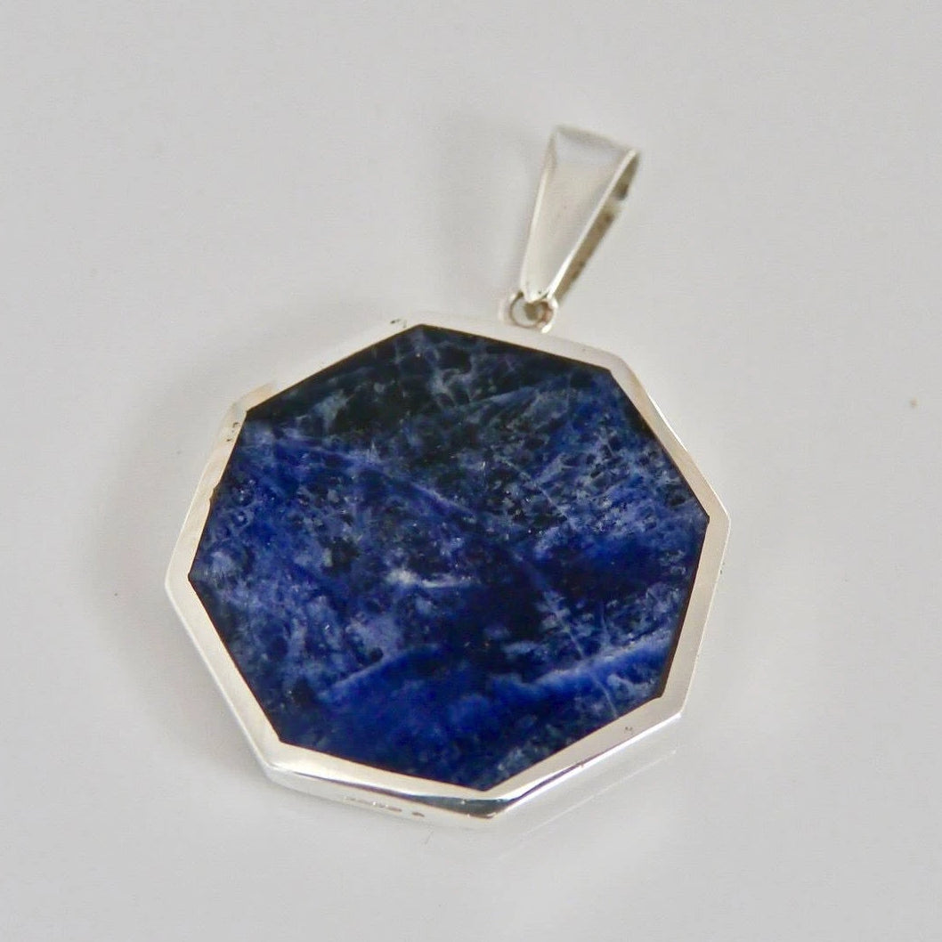 Sodalite Octagon Pendant with Fluorite on the Reverse Side