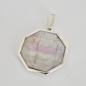 Rainbow Fluorite Octagon Pendant with Sodalite on the Reverse Side