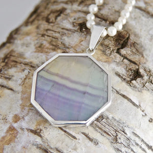 Double Sided Fluorite Sodalite Pendant