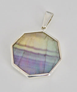 Fluorite & Sodalite Double Sided Pendant