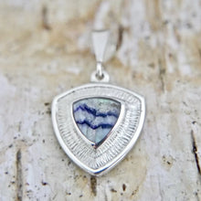 Load image into Gallery viewer, Blue John Silver Triangle Pendant