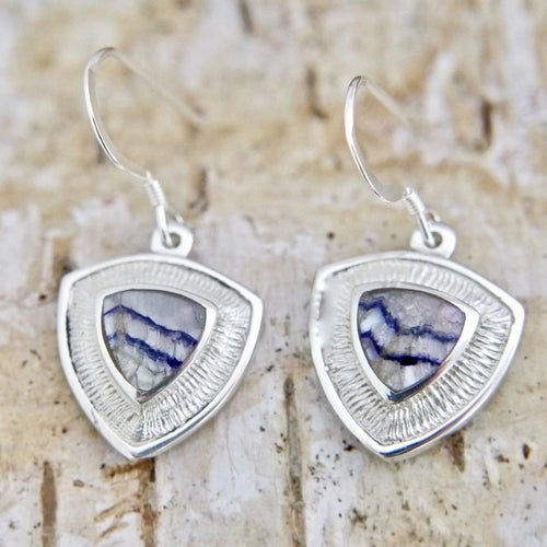 Blue John Dangle Drop Triangle Earrings
